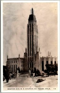 1930s Tulsa, Oklahoma RPPC Real Photo Postcard BOSTON AVE. M.E. CHURCH Unused