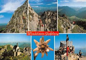 Wendelstein Gipfelweg Blick auf Kaisergebirge Gipfelrast Edelweiss Chapel