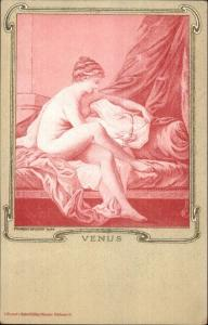 Art Nouveau - Beautiful Woman VENUS Pink Tint Francois Boucher c1900 Postcard