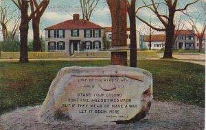 Massachusetts Lexington Stone Boulder Line Of The Minute Men April 19 1775 St...