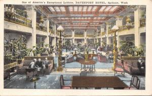 SPOKANE WASHINGTON~DAVENPORT HOTEL~AMERICA'S EXCEPTIONAL LOBBIES POSTCARD 1920s