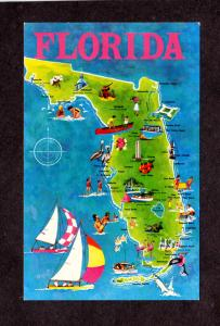 FL State Map Postcard Florida Tampa Ft Myers Vero Beach Coral Gables Miami