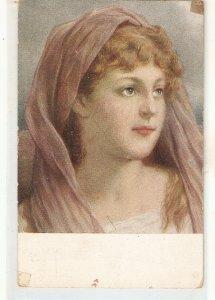 Female head. Tete de Femme Nice old vintage postcard