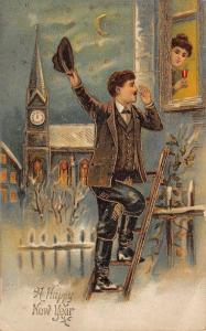 New Year~Man Climbs Ladder to Lady's Window~Midnight Clock Tower~Gold Leaf Embos