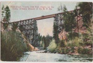 MT Fish Creek Trestle, Missoula 1911 Postcard Montana