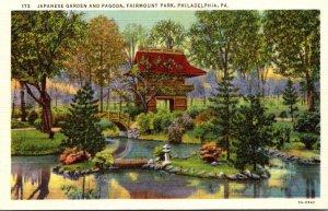 Pennsylvania Philadelphia Fairmount Park Japanese Garden and Pagoda Curteich