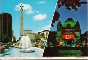 University Avenue Toronto Ontario ON Parliament Multiview Vintage Postcard D43