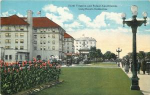 Long Beach CA~Hotel Virginia & Palace Apartments~Pedestrians~5 Globe Lamps~1910