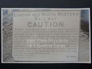 London and North Western Railway LNWR CAUTION SIGN at Llanfoist - RP Photocard