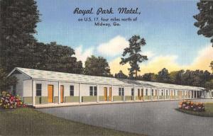 Midway Georgia Royal Park Motel Street View Antique Postcard K58326