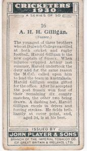 Cigarette Cards Player's Cricketers 1930 No 16 - A H H Gilligan