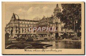 Old Postcard Wiesbaden Nassauer Hof mit Bowling green