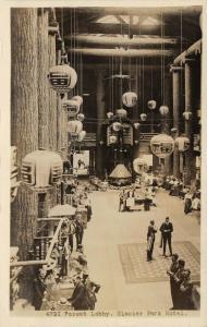 Glacier Park Montana~Park Hotel~Forest Lobby~Japanese Lanterns~1920s RPPC