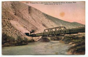 Railroad Train Tunnel Bridge Humboldt River Ryndon Nevada 1910c postcard