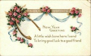 Vintage Postcard New Year Wish Bone 1918 Roses Monterey County California