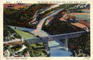 Vintage Postcard Kentucky and Dix Rivers Meet at High Bridge 1953 Unposted  207