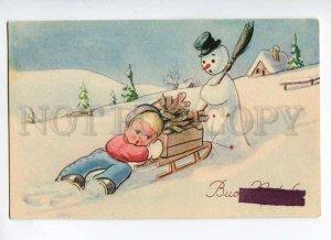 3025532 Hardworking Boy & Cute SNOWMAN. Sign. Old PC