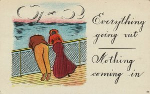 Couple on ship Everything going out-Nothing coming in  , 1909