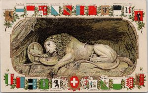 Lucerne Monument du Lion Luzern Embossed Atetier Guggenheim Postcard G97