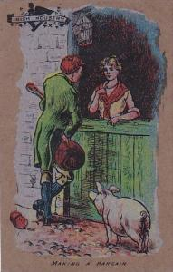 Ireland Man With Pig Talking To Woman Making A Bargain