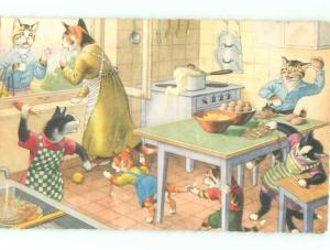 1960 signed MAINZER CATS HAVING FOOD FIGHT - PRINTED IN BELGIUM AC3852
