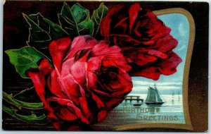 1910s BIRTHDAY Greetings Postcard Red Roses / Sailboat Scene / PC Ad on Back