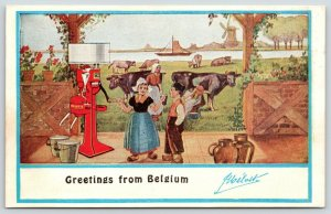 Melotte Cream Separator~Dairy Farm Kids & Cows~1909 Belgium Advertising Postcard