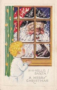 A Merry CHRISTMAS, 1900-1910's; H-H-Hello, Santa, Boy Seeing Santa By The Window
