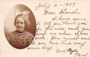 Cameo Cutie in Lace & Bow: I Have Come to Tell You Thanks For The Card RPPC 1907