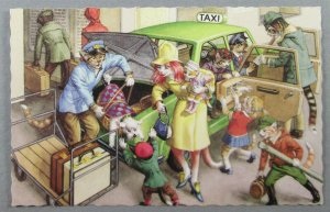 Mainzer #4922 Cats Taking Taxi, Luggage, Anthropomorphic Postcard (#7236)