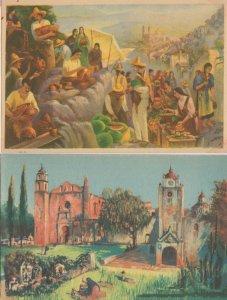 Oleo De Salvador Tarazona Mexico Market Day 2x Old Painting Postcard