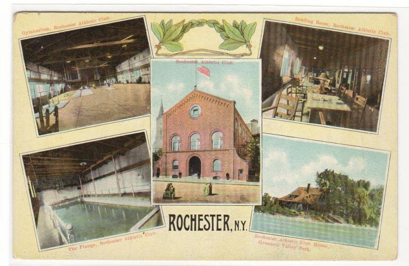 Athletic Club Gym Pool Rochester New York multi view 1910c postcard