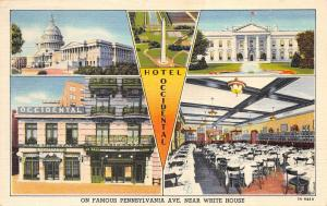 Washington DC 1940s Postcard Hotel Occidental Multiview
