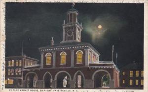 North Carolina Fayetteville Ye Olde Market House By Night 1933 Curteich