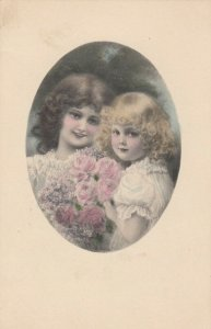 AS: Brunette & Blonde girls with Pink Roses, 1900-10s