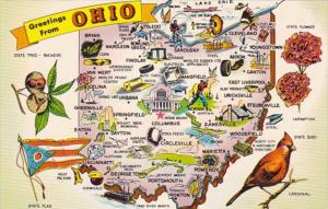 Greetings From Ohio The Buckeye State With Map