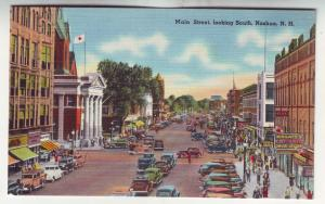P441 JL linen postcard crowded street cars signs people main st nashua n.h.