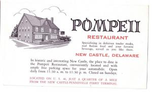 New Castle DE Pompeii Restaurant US 40 Advertising Postcard