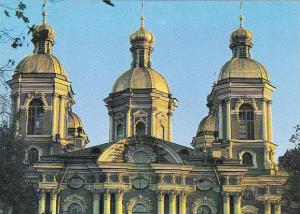 Russia Leningrad The Domes Of St Nicholas's Cathedral