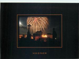Hungary Veszprem by night fireworks postcard