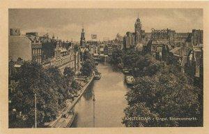 Netherlands Amsterdam Singel canal Bloemenmarkt Postcard