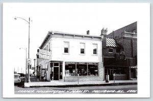 Mendota IL~Coslin Walgreens Agcy Corner Drugs~Cosmetics~Steele Jewels~RPPC c1950