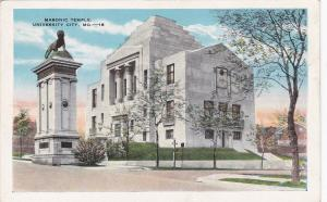 UNIVERSITY CITY, Missouri, PU-1938; Masonic Temple