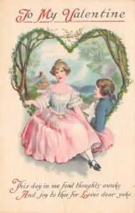 Clapsaddle Valentine~Regency Couple in Leafy Tree Heart~Lacy Pink Gown~Wolf & Co