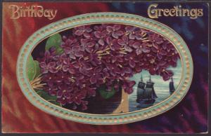 Birthday Greetings,Flower,Embossed Postcard