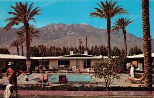 PALMS SPRINGS CALIFORNIA~FLAMINGO PALMS SPA-APARTMENTS~LANDAU BLVD POSTCARD 1960
