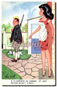 Old Postcard Fantasy Humor Hunter Hunting Dog