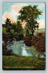 Portland ME, Saco Road Bridge over Stroudwater, Vintage Maine c1910 Postcard