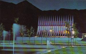 Colorado Springs Cadet Chapel At Night U S Air Force Academy