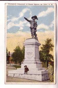 Man and Boy at Champlain Monument, Queen Square, St John, New Brunswick